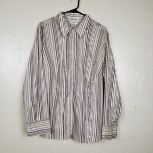 George Stretch Striped Collared Button Up Shirt